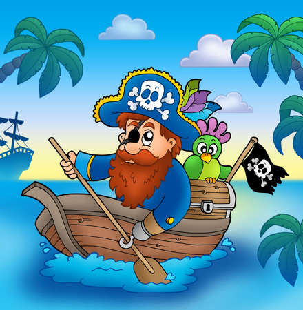 Cartoon pirate paddling in boat - color illustration. illustration