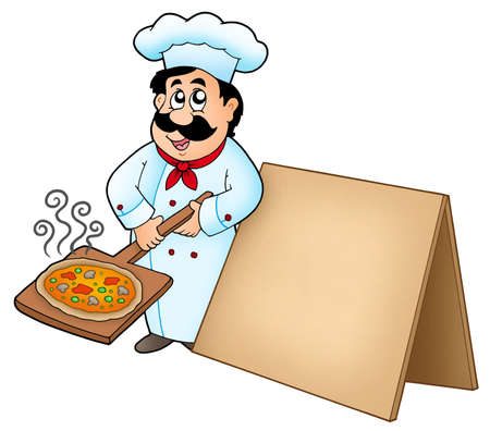 Chef with pizza plate and board - color illustration. Stock Illustration - 6839746