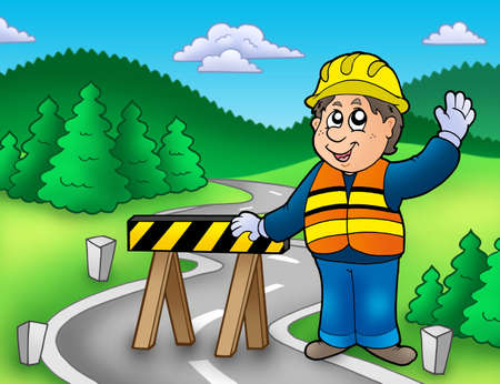 closure: Construction worker standing on road - color illustration. Stock Photo