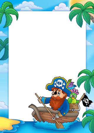 Frame with pirate paddling in boat - color illustration. illustration