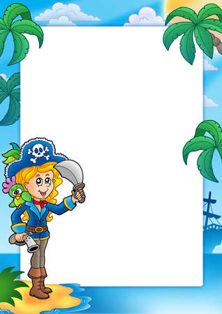 Frame with pretty pirate girl - color illustration. illustration