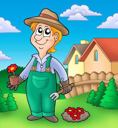 tree planting: Gardener planting red flowers - color illustration. Stock Photo
