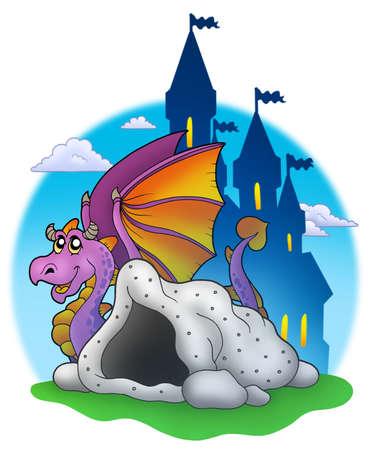 Giant purple dragon near cave - color illustration. illustration