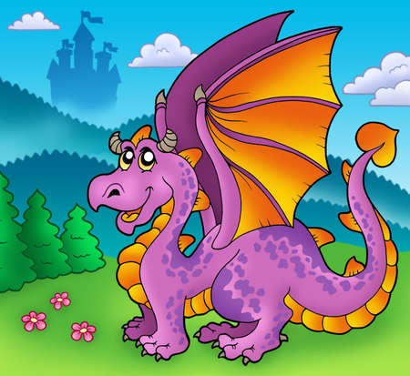 Giant purple dragon with old castle - color illustration. Stock Illustration - 6839659