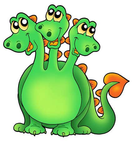 three headed: Green three headed dragon - color illustration.