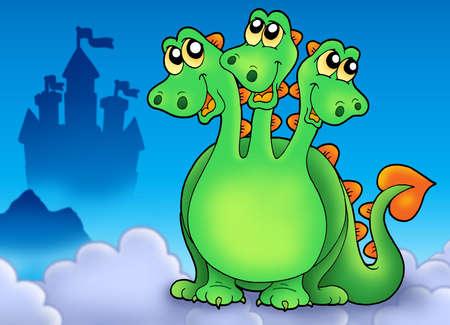 three headed: Green three headed dragon on sky - color illustration. Stock Photo