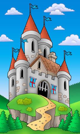 Medieval castle on hill - color illustration. illustration