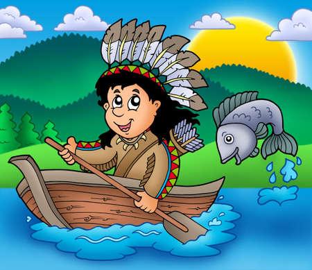 Indios nativos americanos en barco - ilustración de color.  Foto de archivo - 6839655
