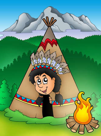 Native American Indian in tepee - color illustration. illustration