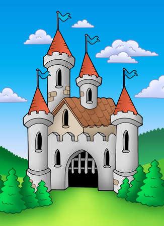 hadas caricatura: Antiguo castillo medieval en el paisaje - ilustración de color.