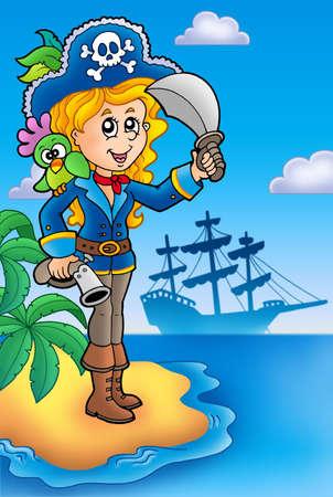 mujer pirata: Chica bonita pirata en la isla - ilustraci�n de color.