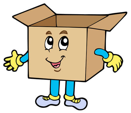 storage boxes: Cartoon cardboard box Illustration