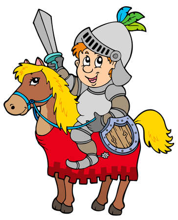 Cartoon knight sitting on horse Stock Vector - 6860815