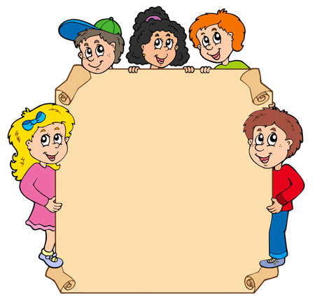 Parchment with various lurking kids Vector