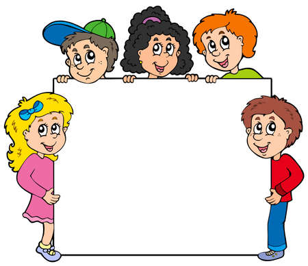 Various kids holding board Stock Vector - 6865642