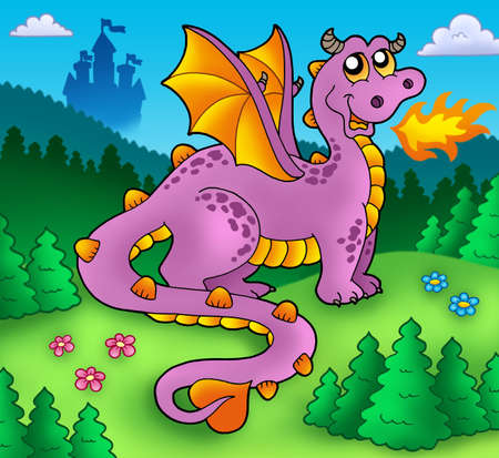 Big purple dragon with old castle - color illustration. Stock Illustration - 6860795