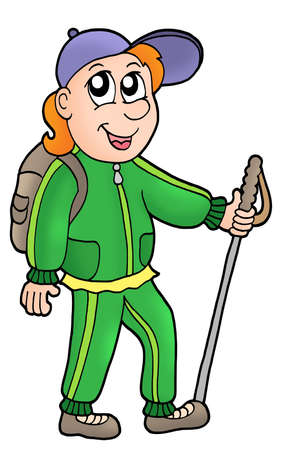 hiker: Cartoon hiker on white background - color illustration.