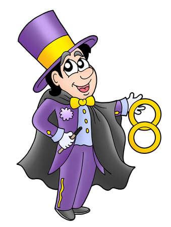 Cartoon magician in cylinder - color illustration.