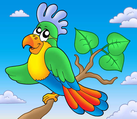 parrot tail: Cartoon parrot on branch - color illustration. Stock Photo