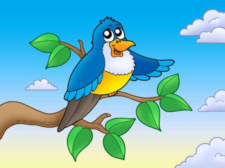 Cute blue bird on branch - color illustration. Stock Illustration - 6860802