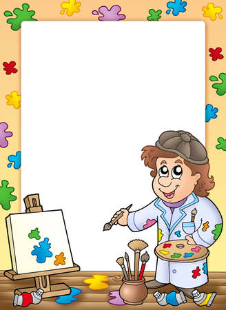 fine arts: Frame with cartoon artist - color illustration. Stock Photo