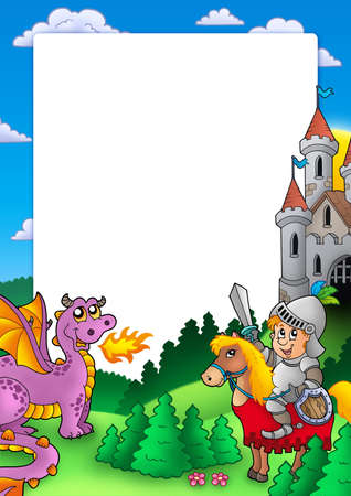 cartoon knight: Frame with knight and dragon - color illustration.