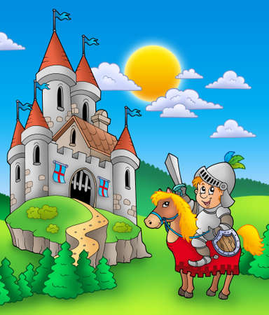 knightly: Knight on horse with castle - color illustration.