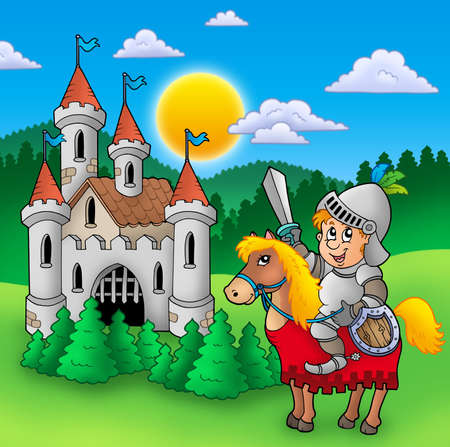 cartoon knight: Knight on horse with old castle - color illustration. Stock Photo