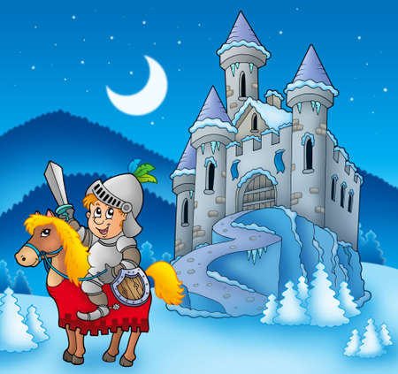 castillo medieval: Caballero a caballo con el castillo de invierno - ilustración de color.