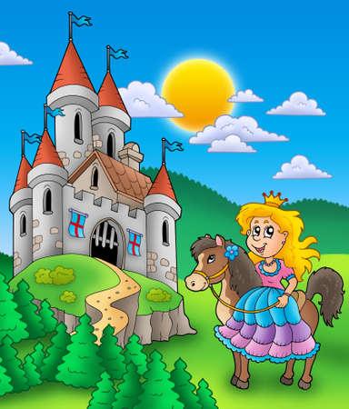 castillos de princesas: Princesa en caballo con castillo - ilustraci�n de color.  Foto de archivo