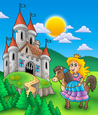 Princess on horse with castle - color illustration. illustration