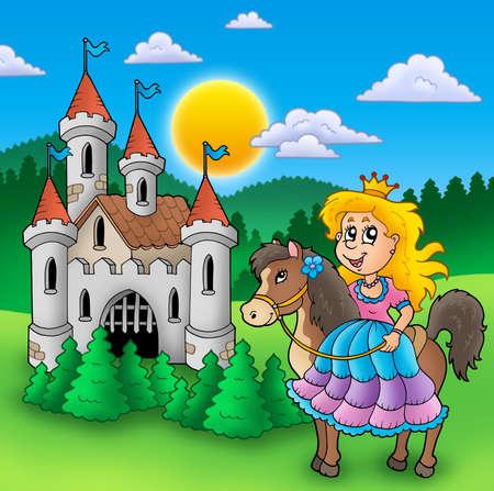 castillos de princesas: Princesa en caballo con el viejo castillo - ilustración de color.