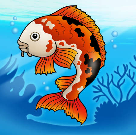 Red koi fish in water - color illustration. Stock Illustration - 6865641