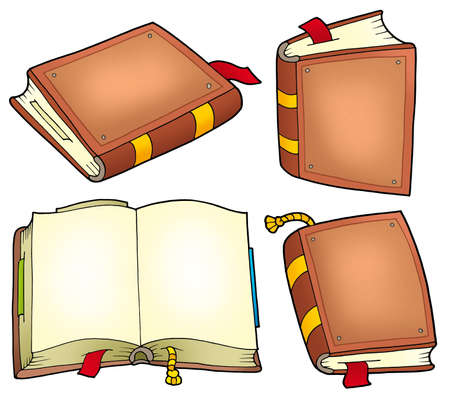 Various old books collection - color illustration. Stock Illustration - 6860799