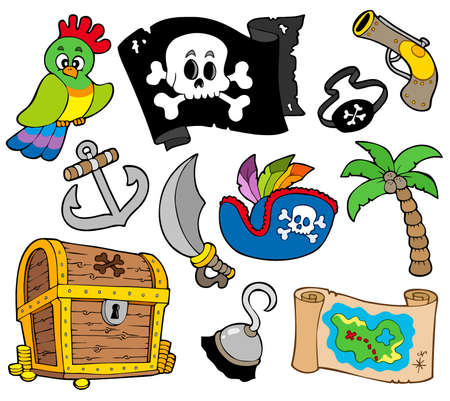 eyepatch: Buccaneer collection on white background Illustration
