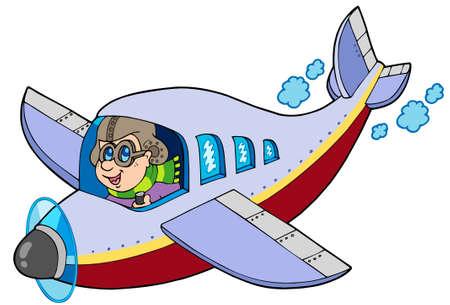 Cartoon aviator on white background