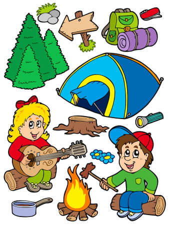 boy playing guitar: Holiday camping collection