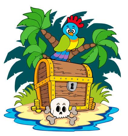 isla del tesoro: Isla de pirata con cofre del Tesoro Vectores