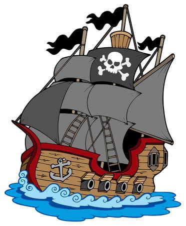 pirate skull: Barco pirata sobre fondo blanco