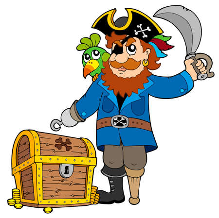 pirata: Pirata con viejo cofre del Tesoro