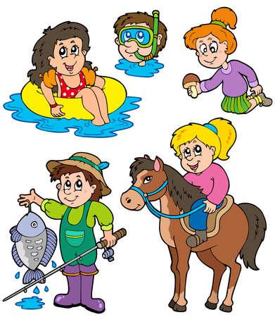 Colección de actividades de verano niños  Ilustración de vector