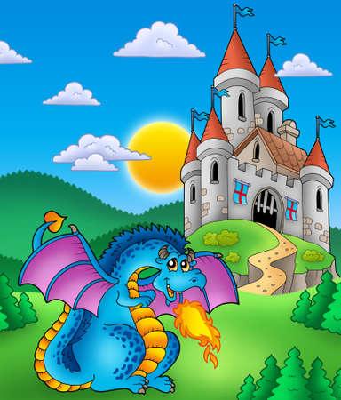 Big blue dragon with medieval castle - color illustration.