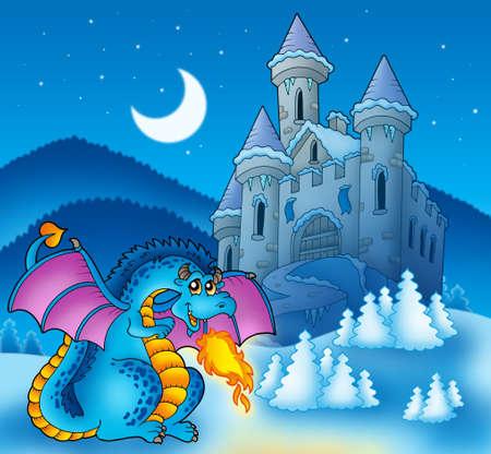 Big blue dragon with winter castle - color illustration.