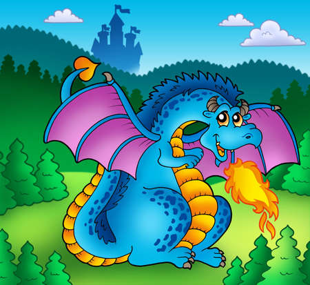 Big blue fire dragon with old castle - color illustration. illustration