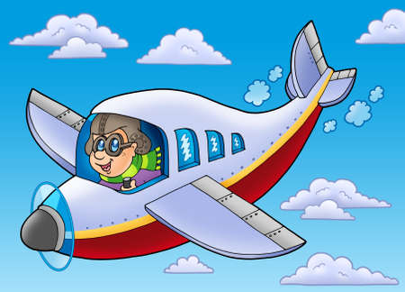 airman: Cartoon aviator on blue sky - color illustration.