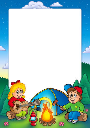 boy playing guitar: Frame with camping kids - color illustration.