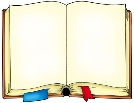 opened: Old opened book - color illustration. Stock Photo