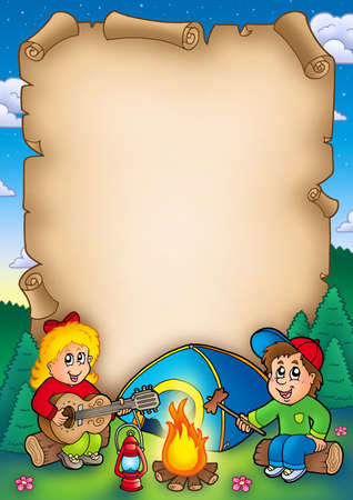 bonfire: Old parchment with camping kids - color illustration. Stock Photo