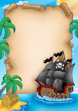 pirates flag design: Parchment with pirate vessel - color illustration.