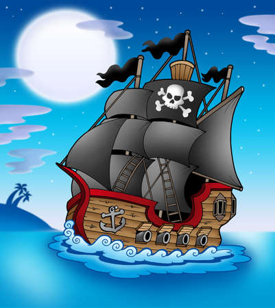 pirate skull: Pirate vessel at night - color illustration. Stock Photo